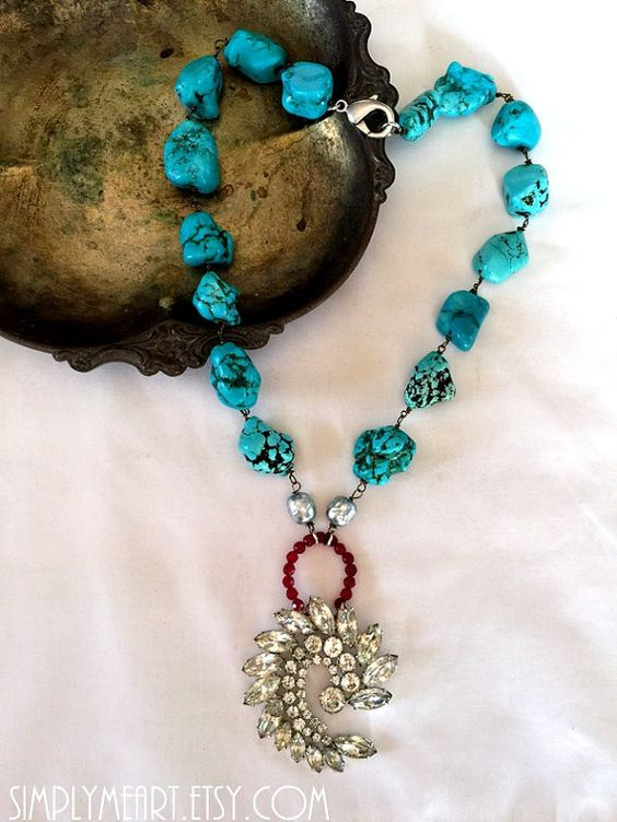 This is a Gorgeous One of a Kind Necklace created with, chunky Turquoise, petite Ruby, Vintage Miriam Haskell glass Pearls and a Sparkling Vintage