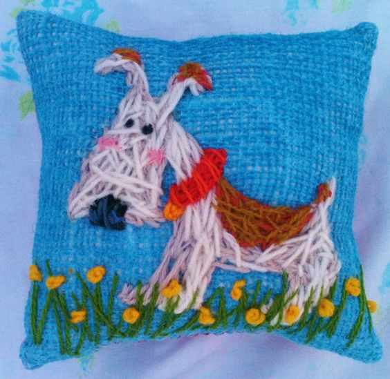 Freehand Embroidered Mini Pillow with Your Dog by YelliKelli, $20.00
