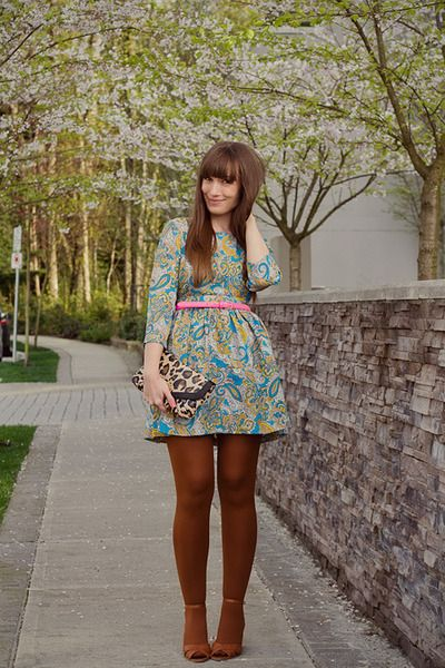 Paisley Print Dresses & colourful tights!