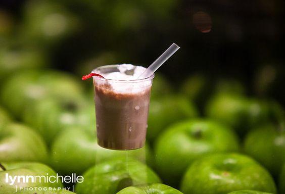 modern white wedding, wedding reception, green apple accents, fun mini milkshake, drinks, desserts.