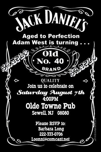 Jack Daniel's Birthday Party Invitations, Bridal Shower ...
