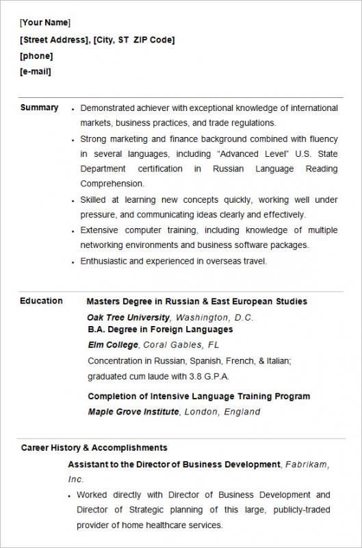Resume Format College Student Resume Template College Resume