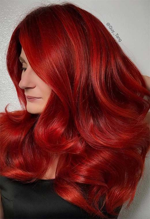 63 Hot Red Hair Color Shades To Dye For Red Hair Dye Tips Ideas Dyed Red Hair Red Hair Color Vibrant Red Hair