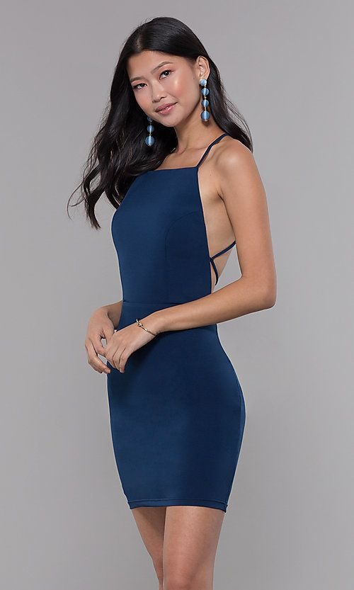 Short Square Neck Open Back Homecoming Party Dress Homecoming Dresses Bodycon Dress Homecoming Hoco Dresses