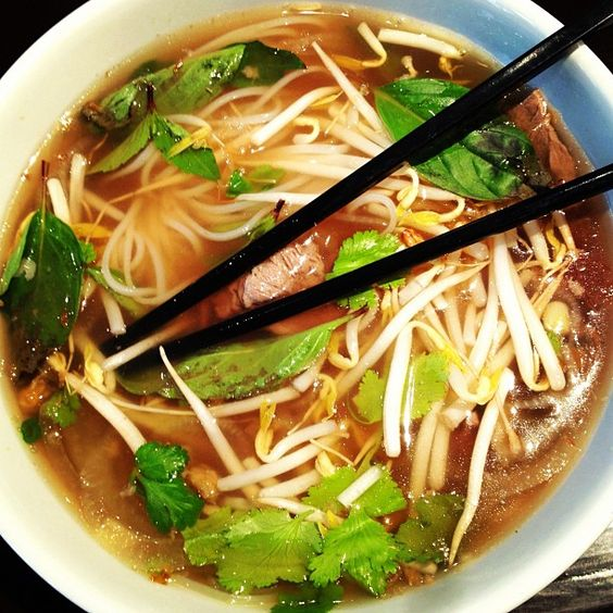 Tried #pho for the first time. If you haven't yet, go get you some for dinner tonight. It's that good. Fresh #herbs, intense #soup broth flavors. #yum #food