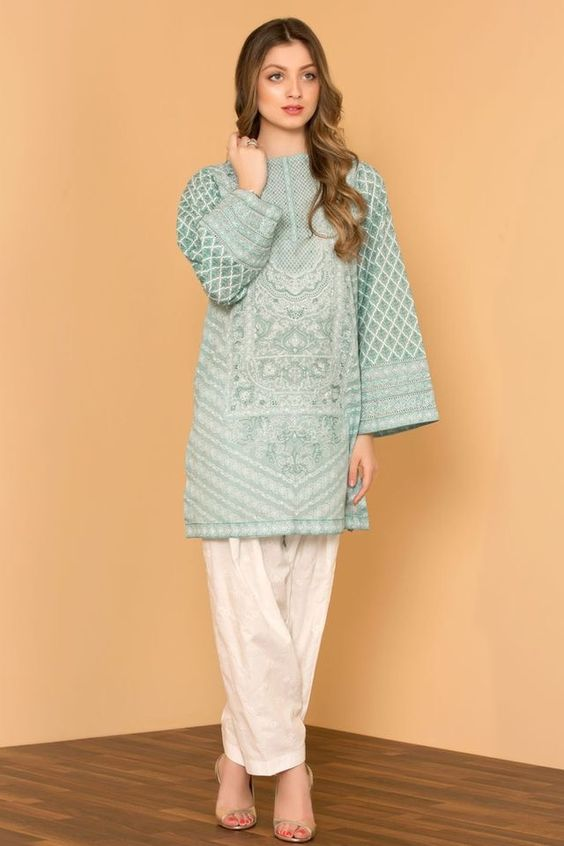Stitching Styles Of Pakistani Dresses Aqua Blue Kurta
