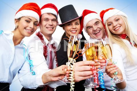 Portrait of smart colleagues with flutes of champagne wishing you merry christma Stock Photos #AD ,#flutes#champagne#colleagues#Portrait