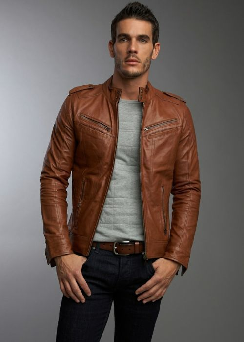 Men's Brown Leather Bomber Jacket, Grey Crew-neck Sweater, Black ...
