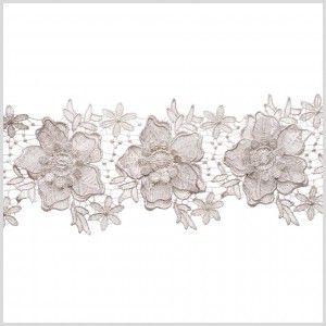"""4"""" 3D Metallic Silver Floral Lace Trim"""