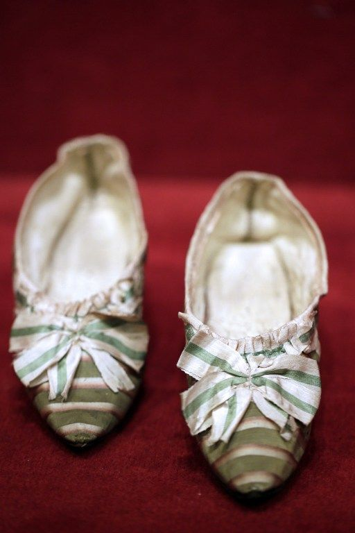 "pair of shoes, which belonged to French Queen Marie-Antoinette, as part of a sale of ""Historic memories of Royal Families"".:"