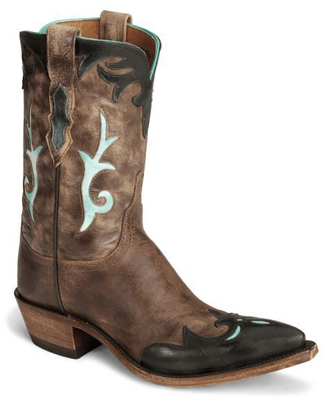 Lucchese Boots - Handcrafted 1883 Brown Antiqued Cowgirl Boot - Snip Toe