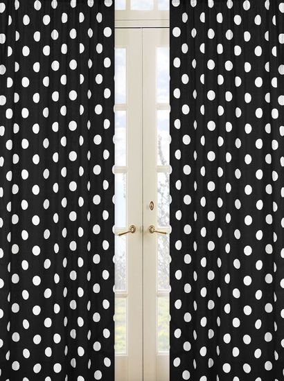 black and white polka dot print 84 inch curtain panels for