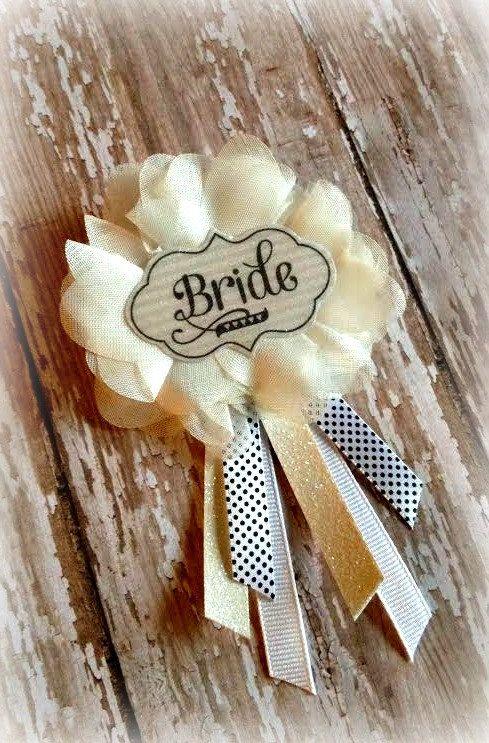 White Bridal Badge - Bride to Be Badge - Bridal Shower Badge - Bachelorette Party Badge