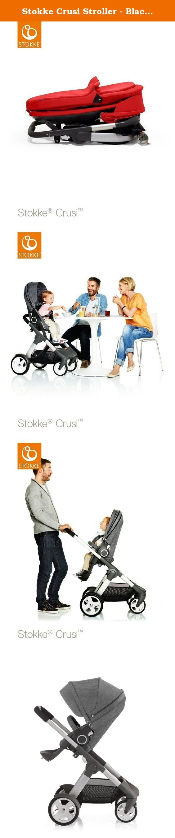 Stokke Crusi Stroller - Black Melange. With roomy dimensions, large storage space, and unrivaled suspension, the Stokke Crusi stroller takes comfort to new heights. Lifting your baby higher, Stokke Crusi offers a wide range of configurations to adapt to you and your baby's ever-changing needs. Stokke Crusi provides optimal ergonomics for parent and child. No stroller in its class matches the comfort or functionality of Stokke Crusi. The large and comfortable cot is suited to use from…