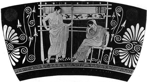 Penelope at her loom (Attic red-figure skyphos ca. 450-20 BCE)