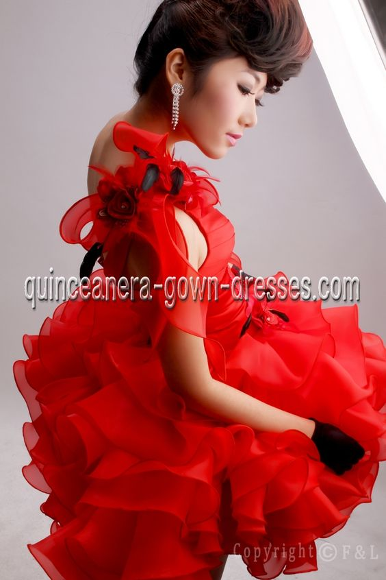 Discount Sexy Strapless Red Pretty Quinceanera Dresses 420912
