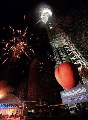 Atlanta drops an 800 lb peach on New Year Eve Night....every year Underground Atlanta