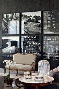 Composição c/ quadros grandes. Nos livings as fotos assumem status de obra de arte. O Preto& Branco traz um efeito gráfico, dramático e sofisticado ao ambiente.