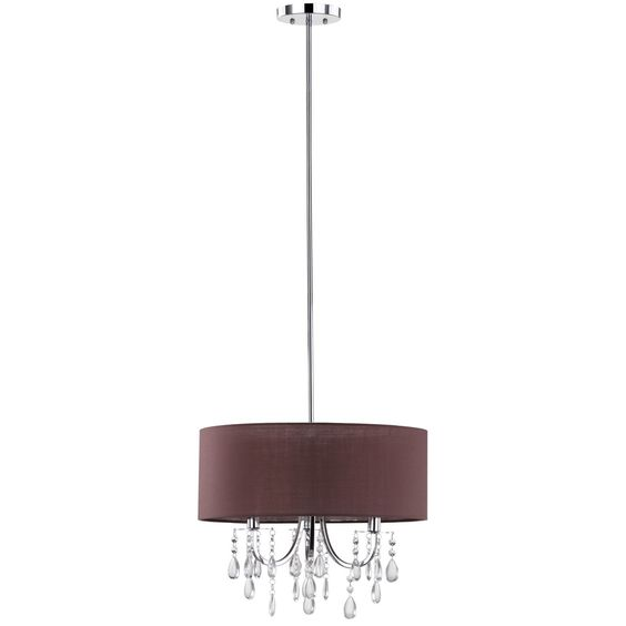 Bathe a dining room or bedroom in the dramatic glow of the Contessa crystal drum pendant. An ornate chrome chandelier with cascading crystal beads and teardrops peaks through a modern drum shade of brown chiffon for intriguing scale and texture.