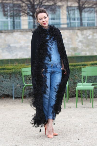 THE GIRL: Ulyana is a Russian photographer and designer www.ulyanasergeenko.com    SPOTTED:  Jardins des Tuileries.    HER STYLE: Haute cowgirl. #parisfashionweek #paris