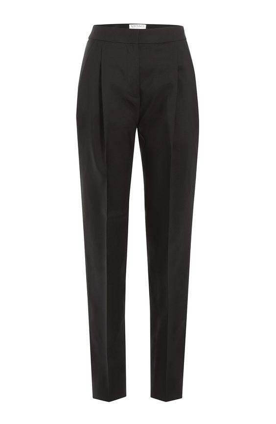 Pantalon � pinces en laine vierge et en soie detail 0
