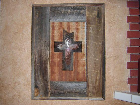 Framed cross w/ sacred heart | Woodchicks.com
