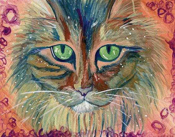 "This is a watercolor portrait I painted, of my Maine coon ""Baby"" She loves space shows and watching the stars and planets on TV."