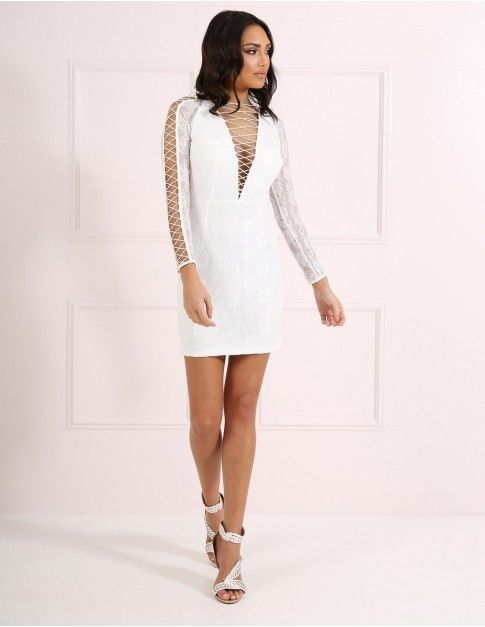 Forever Unique White Lace Up V Neck Dress Uk 12 Rrp 149 Lf078 Ii 07 Fashion Clothing Sho White Lace Bodycon Dress White Bodycon Dress Embellished Maxi Dress
