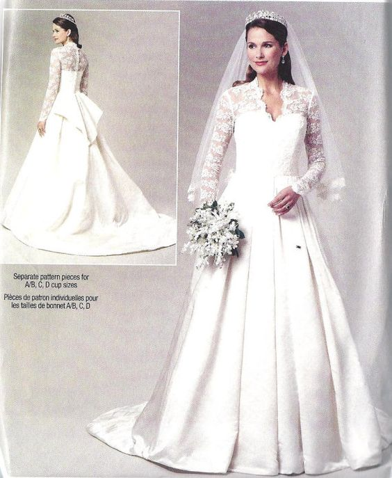 Wedding dress gown plus size sewing pattern kate for Princess catherine wedding dress