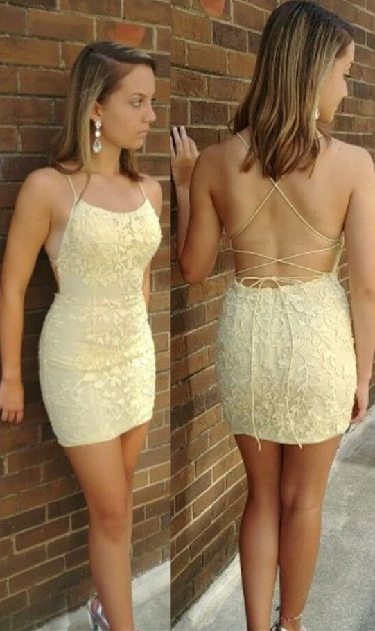Straps Yellow Homecoming Dress Tight Short Yellow Lace