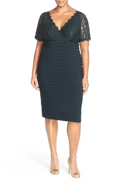 Adrianna Papell Lace & Shutter Pleat Jersey Cocktail Sheath Dress (Plus Size) available at #Nordstrom