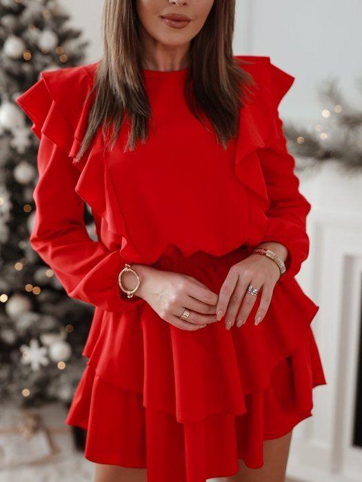 Czerwona Sukienka Z Falbanami Women Fashion Ruffle Blouse
