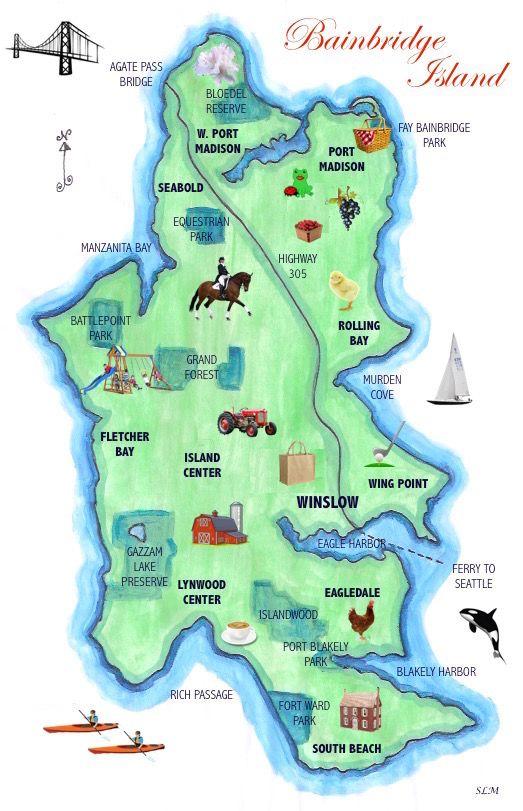 illustrated Map of Bainbridge island, washington | Seattle ... on road map of wenatchee wa, road map of everett wa, road map of bremerton wa, road map of skagit county wa, road map of arlington wa, road map of sedro woolley wa, road map of kent wa, road map of cheney wa,