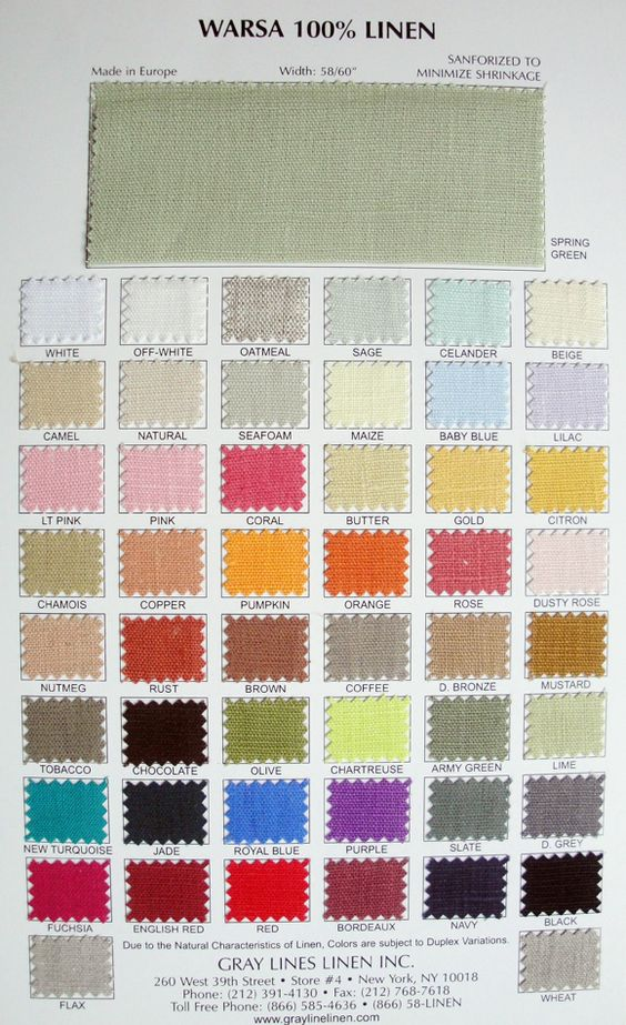 Greyline Warsa Linen Color Chart or also try Home Decorators collection for thicker option
