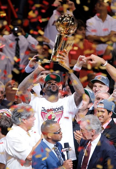 Lebron gets his championship trophy. The Heat closed out the playoffs with the win over OKC Thunder last night.