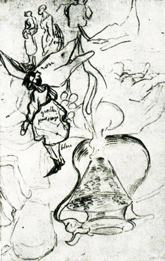 """""""Still Life: Can, Books, Wineglass, Bread and Arum; Sketch of Two Women and a Girl""""....Vincent van Gogh Drawing, Pencil Auvers-sur-Oise: May - June, 1890.....Private collection."""