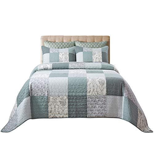 Soul Lane Memory Lane 100 Cotton 2 Piece Real Patchwork Quilt Set Twin With 1 Sham Pre Washed Reversible Quilt Sets Queen Quilted Bedspreads Bed Spreads