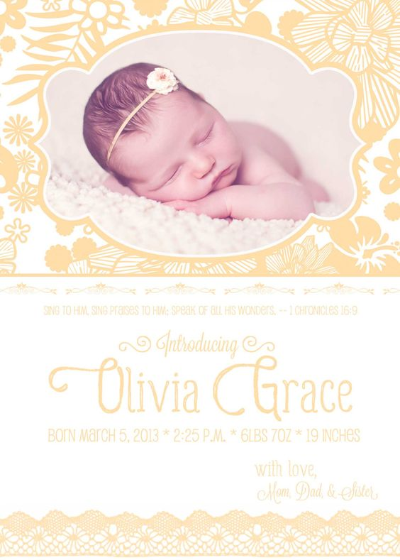 Best ideas about Baby Girl Birth Announcements Birth Announcement – Baby Girl Announcement Ideas