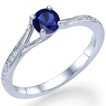 Natural Real Round Cut Blue Sapphire Engagement Ring by ldiamonds, $399.00