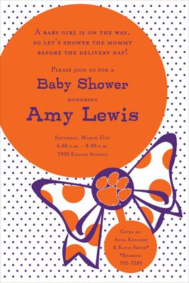 Clemson Rattle Baby Shower Invitations