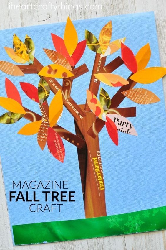 If you love finding fun ways to recycle materials into crafts you are going to love this magazine fall tree craft. A beautiful fall kids craft.