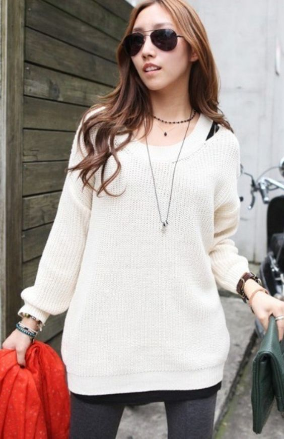 Off-shoulder Solid White Long Sleeves Hip-length Sweater Jumper, £15.99