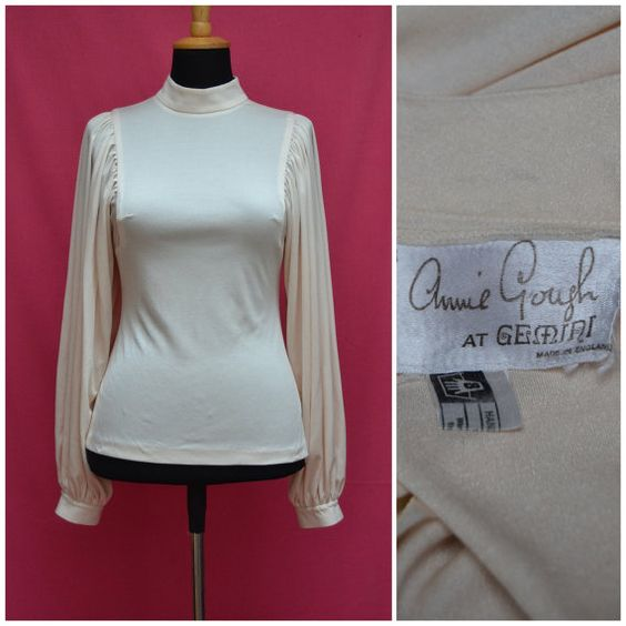 Vintage blouse 1970s cream fitted top Body by VintageGreenClothing, £21.99