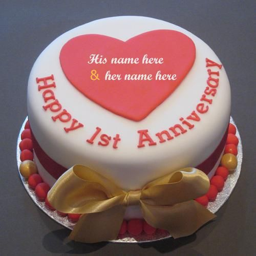 Online Wishes First Anniversary Cake With Couple Name For Free