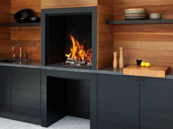 Barbecue fixe foyer ouvert exterieur bbq pinterest for Barbecue fixe exterieur
