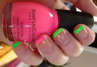 Love the colorful french tips with an accent!