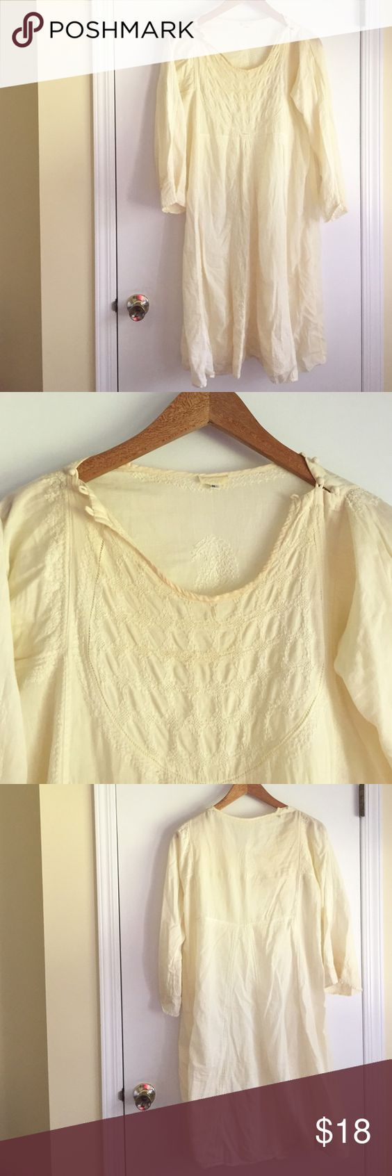 FLASH SALEBoho dress/cover up Boho dress that could be worn as a coverup because it's very light, very pretty and in good condition. Creamish yellow in color. Not for someone who is big busted! OFFERS WELCOME Nimbu Dresses Midi