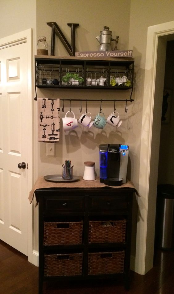Runners hooks and table runners on pinterest for Kitchen coffee bar ideas