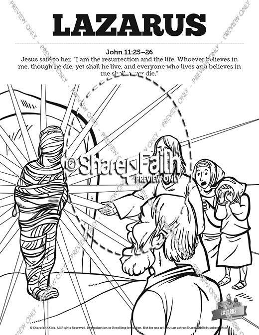 John 11 Lazarus Sunday School Coloring Pages School Coloring