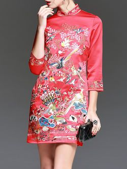 Embroidery Floral Mini Dress